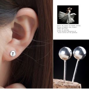 Jewelry - Dainty Silver Ball Studs 5MM Circle Earrings